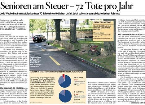 Impression d'écran d'une page du journal Sonntag avec un graphique