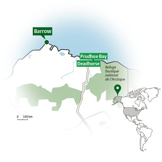 Un immense gisement a été découvert à Prudhoe Bay. (Infographie: Florent Collioud)