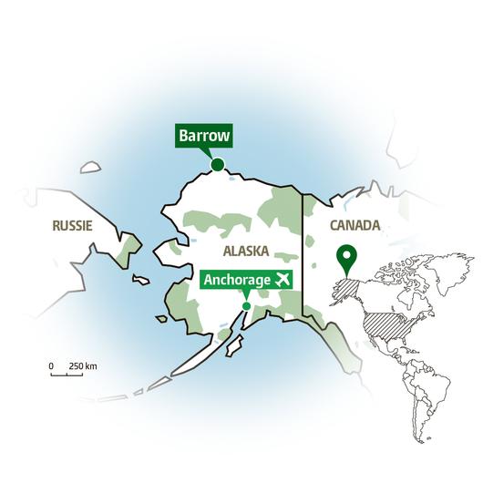 Barrow, tout au nord de l'Alaska. (Infographie: Florent Collioud)